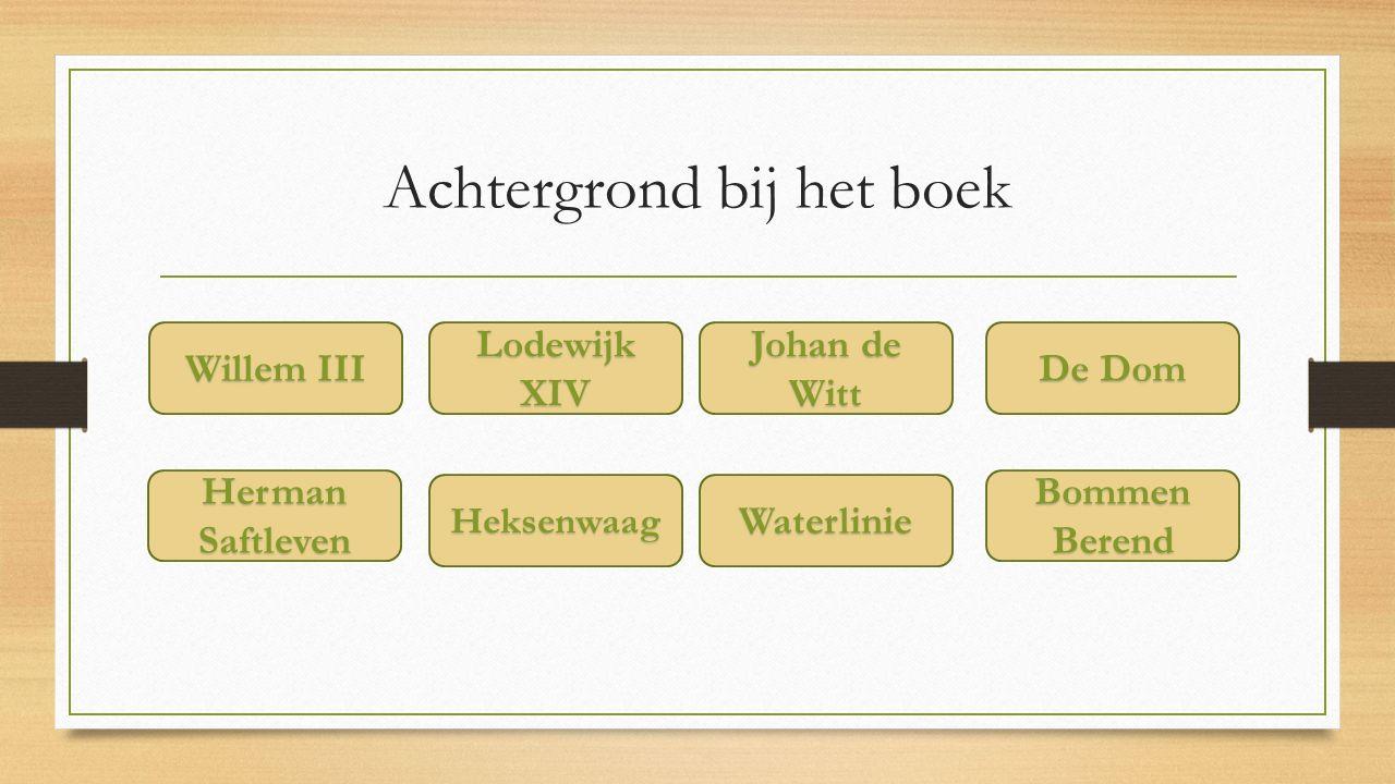 Achtergrond bij het boek Willem III Willem III Herman Saftleven Herman Saftleven Lodewijk XIV Lodewijk XIV Johan de Witt Johan de Witt De Dom De Dom Heksenwaag Waterlinie Bommen Berend