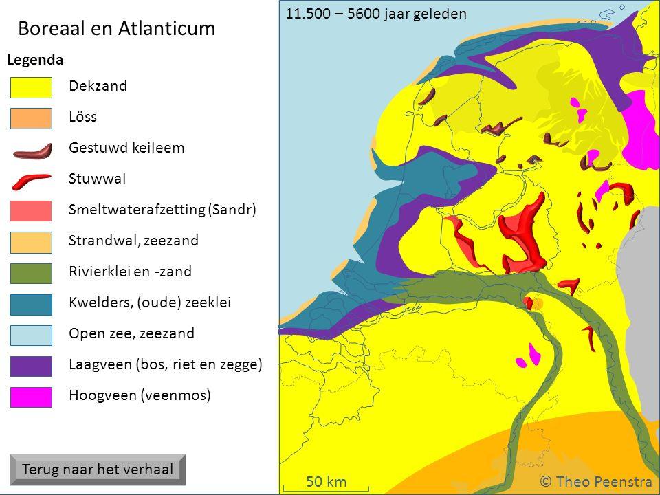 50 km Weichsel ijstijd Boreaal en Atlanticum © Theo Peenstra 11.500 – 5600 jaar geleden Strandwal, zeezand Dekzand Stuwwal Gestuwd keileem Hoogveen (v