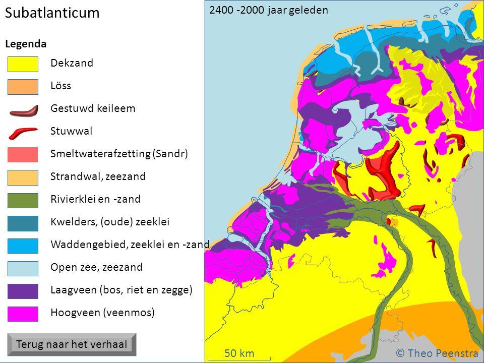 50 km Weichsel ijstijdSubboreaal (1) atat Subatlanticum © Theo Peenstra 2400 -2000 jaar geleden Strandwal, zeezand Dekzand Stuwwal Gestuwd keileem Hoo