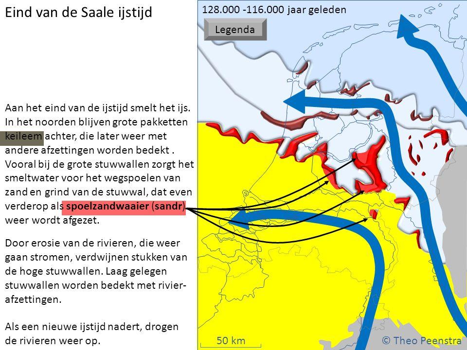 50 km Eind van de Saale ijstijd Door erosie van de rivieren, die weer gaan stromen, verdwijnen stukken van de hoge stuwwallen. Laag gelegen stuwwallen