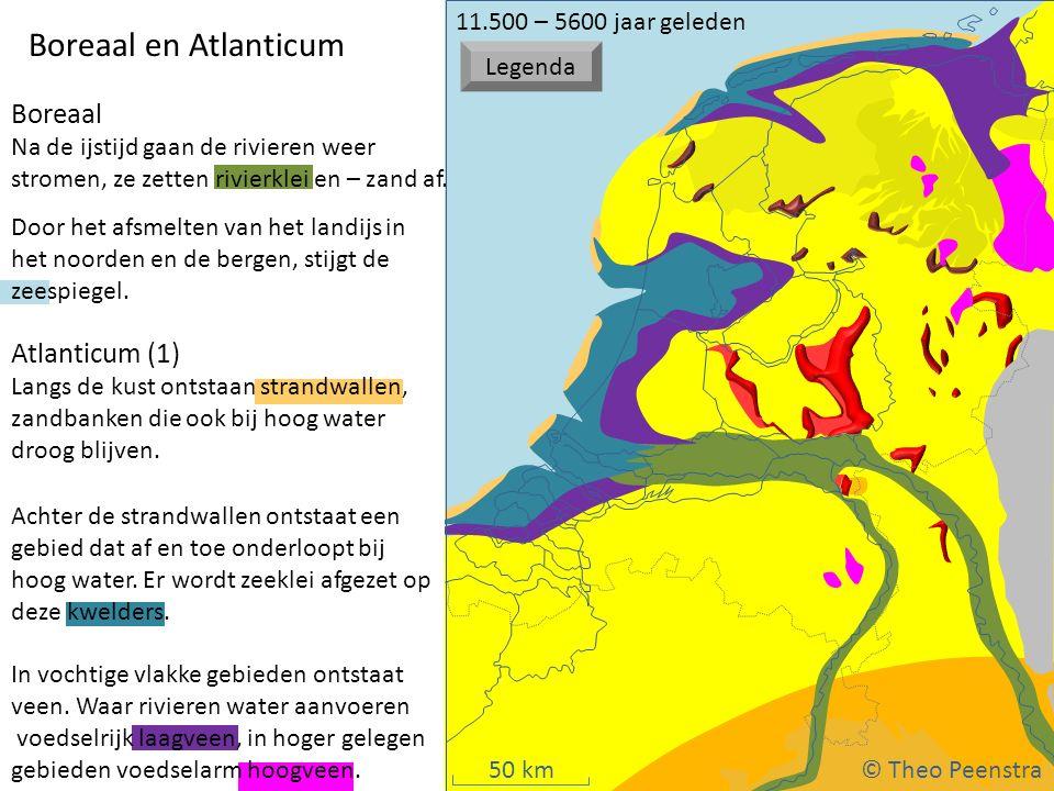 50 km Weichsel ijstijd Boreaal en Atlanticum Boreaal Na de ijstijd gaan de rivieren weer stromen, ze zetten rivierklei en – zand af. Door het afsmelte