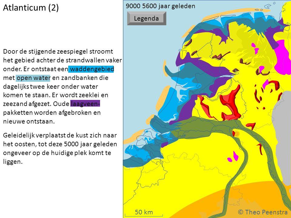 50 km Atlanticum (2) Door de stijgende zeespiegel stroomt het gebied achter de strandwallen vaker onder. Er ontstaat een waddengebied met open water e