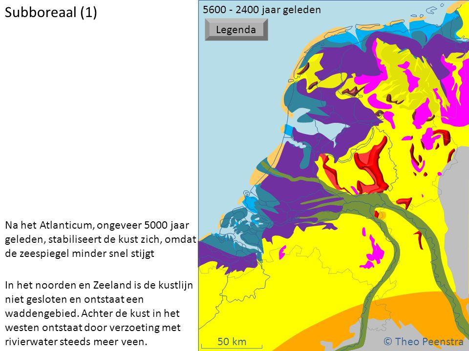 50 km Subboreaal (1) Na het Atlanticum, ongeveer 5000 jaar geleden, stabiliseert de kust zich, omdat de zeespiegel minder snel stijgt In het noorden e