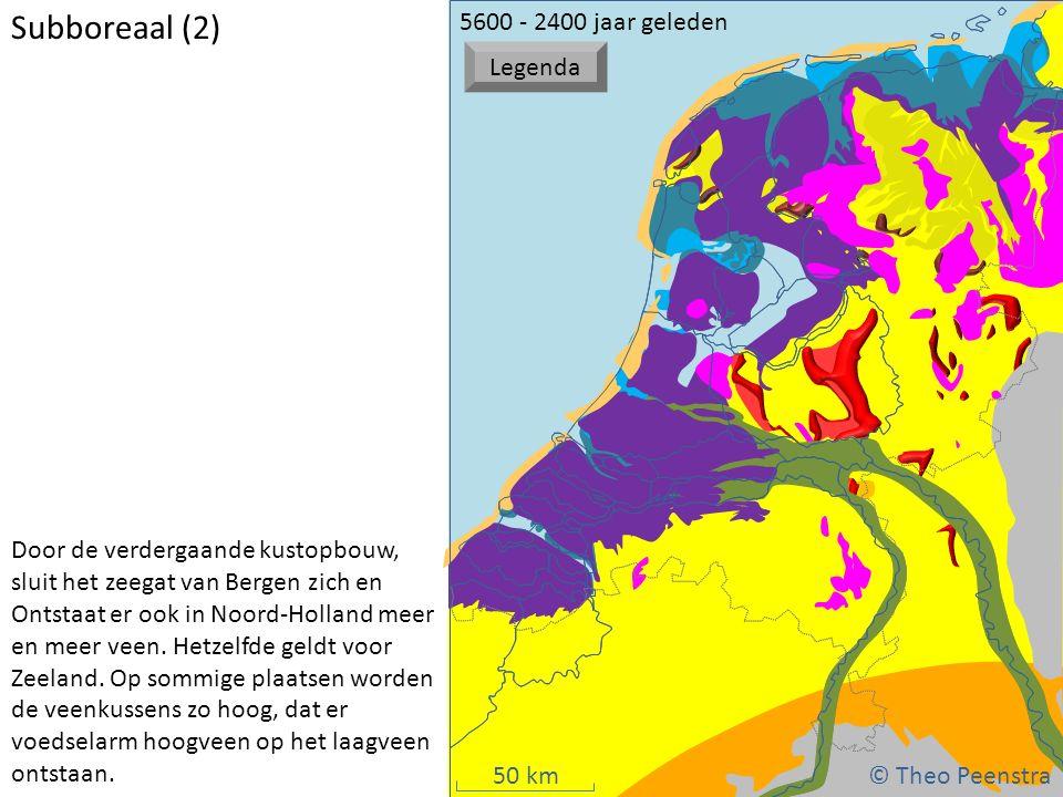 50 km atat © Theo Peenstra Door de verdergaande kustopbouw, sluit het zeegat van Bergen zich en Ontstaat er ook in Noord-Holland meer en meer veen. He