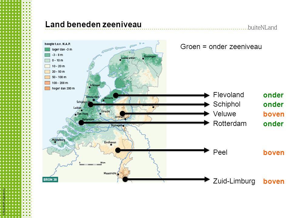 Land beneden zeeniveau Groen = onder zeeniveau Flevoland Schiphol Veluwe Rotterdam Peel Zuid-Limburg onder boven onder boven