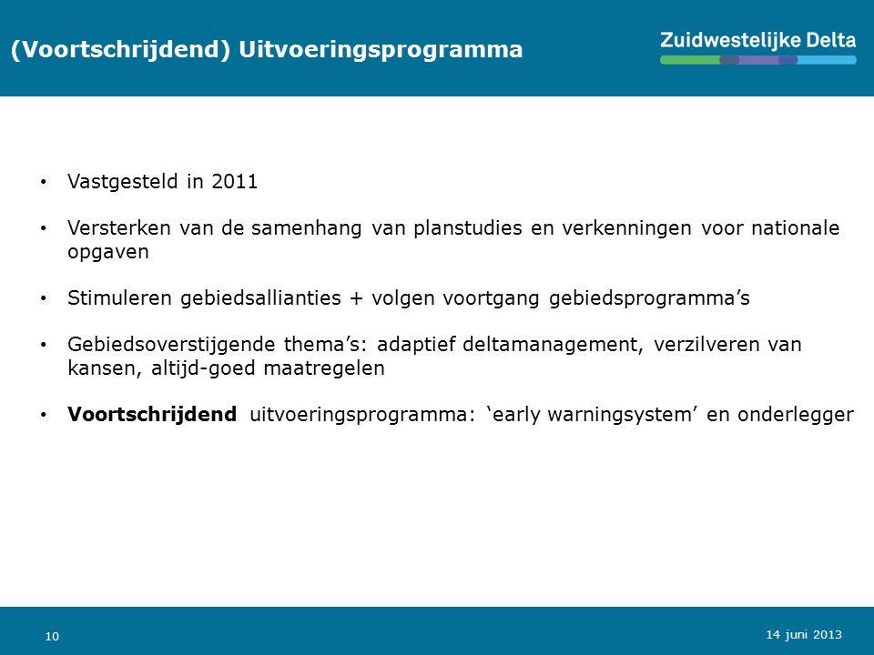 10 (Voortschrijdend) Uitvoeringsprogramma Vastgesteld in 2011 Versterken van de samenhang van planstudies en verkenningen voor nationale opgaven Stimu