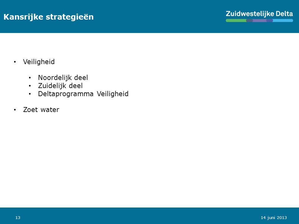 13 Kansrijke strategieën Veiligheid Noordelijk deel Zuidelijk deel Deltaprogramma Veiligheid Zoet water 14 juni 2013