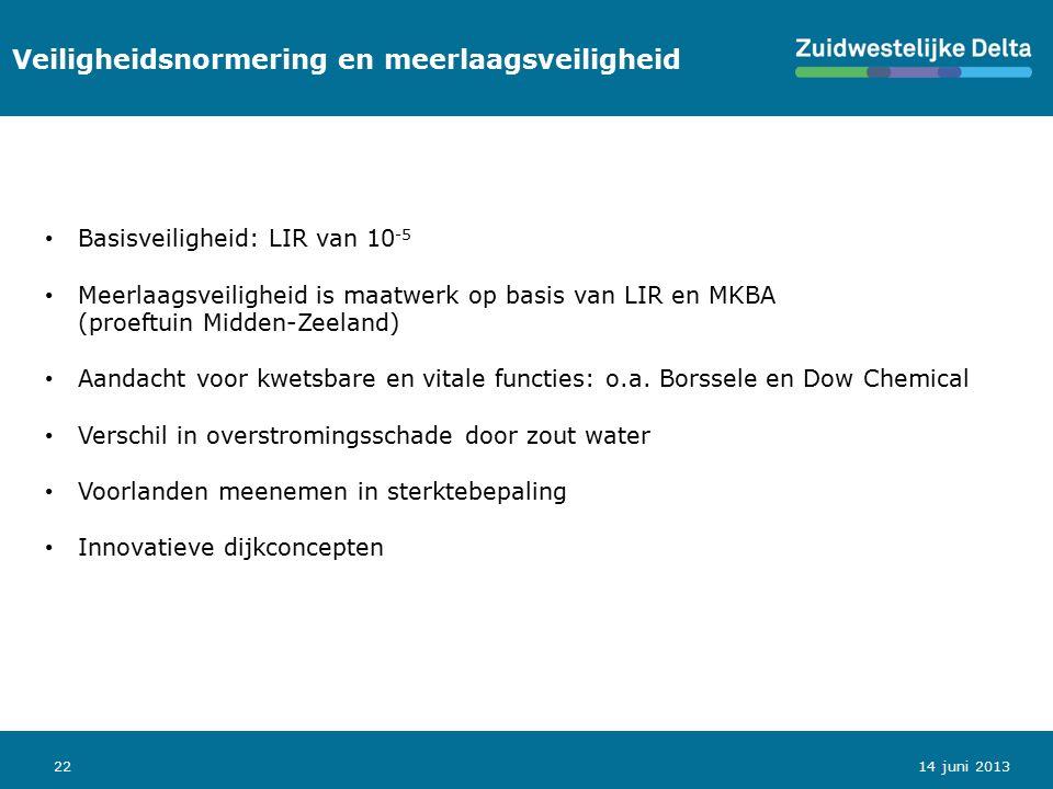 22 Veiligheidsnormering en meerlaagsveiligheid 14 juni 2013 Basisveiligheid: LIR van 10 -5 Meerlaagsveiligheid is maatwerk op basis van LIR en MKBA (p