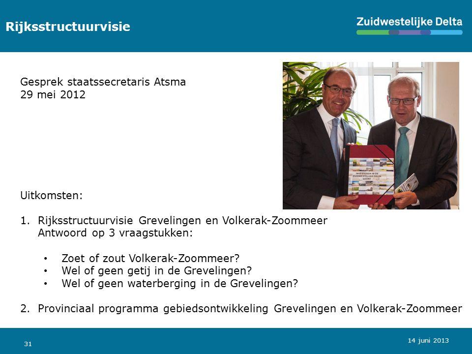31 Rijksstructuurvisie Gesprek staatssecretaris Atsma 29 mei 2012 Uitkomsten: 1.Rijksstructuurvisie Grevelingen en Volkerak-Zoommeer Antwoord op 3 vra