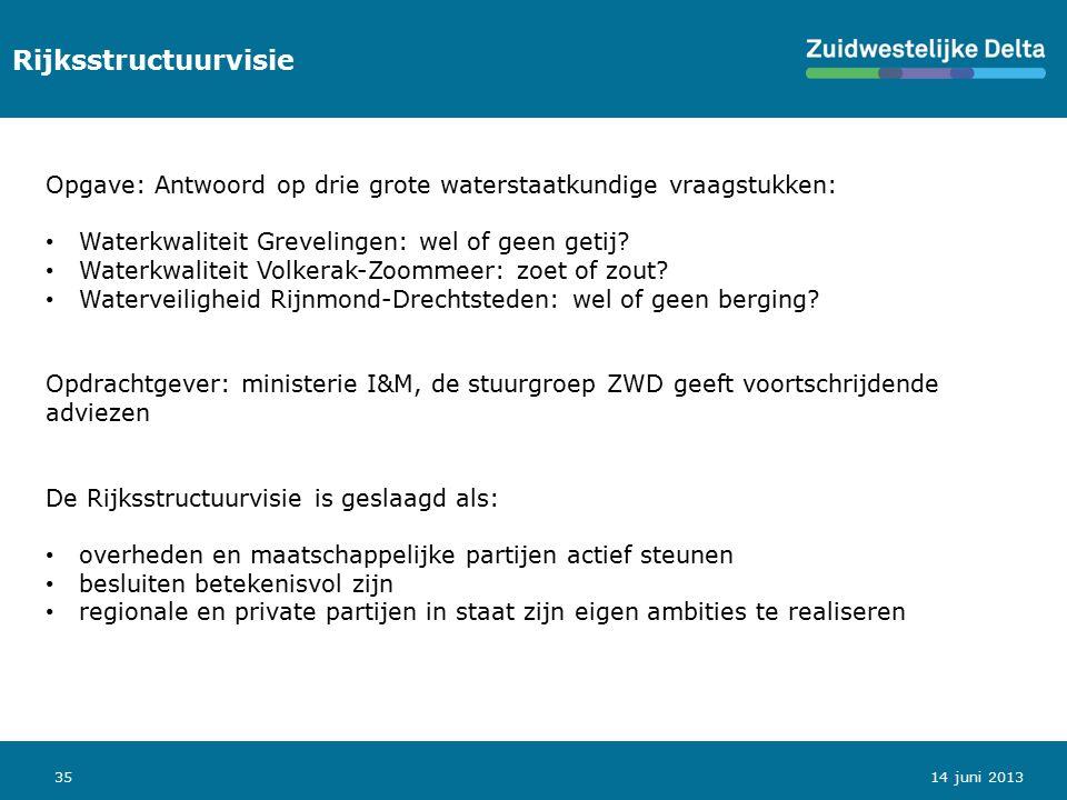 35 Rijksstructuurvisie 14 juni 2013 Opgave: Antwoord op drie grote waterstaatkundige vraagstukken: Waterkwaliteit Grevelingen: wel of geen getij? Wate
