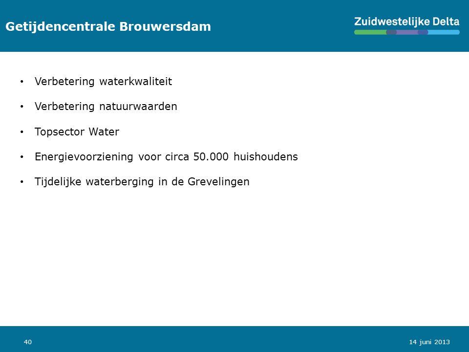 40 Getijdencentrale Brouwersdam 14 juni 2013 Verbetering waterkwaliteit Verbetering natuurwaarden Topsector Water Energievoorziening voor circa 50.000