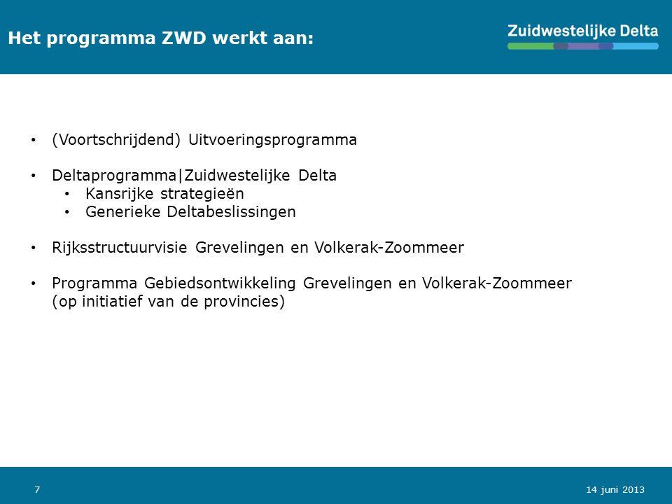 714 juni 2013 Het programma ZWD werkt aan: (Voortschrijdend) Uitvoeringsprogramma Deltaprogramma|Zuidwestelijke Delta Kansrijke strategieën Generieke