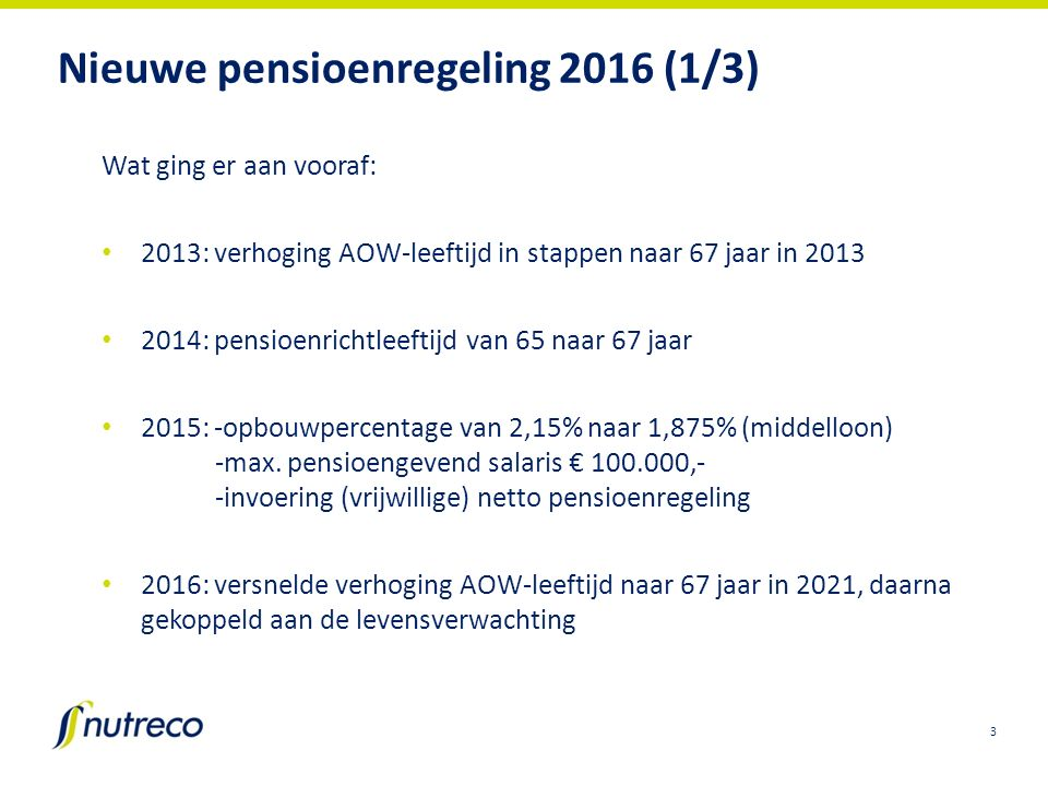 Nieuwe pensioenregeling 2016 (1/3) Wat ging er aan vooraf: 2013: verhoging AOW-leeftijd in stappen naar 67 jaar in 2013 2014: pensioenrichtleeftijd va