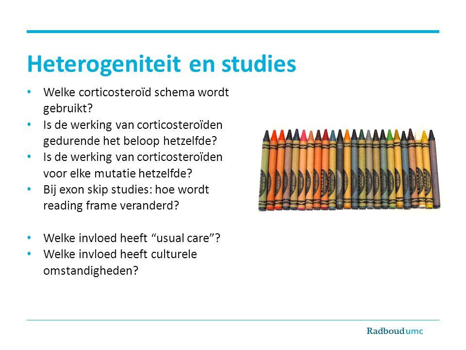 Heterogeniteit en studies Welke corticosteroïd schema wordt gebruikt.