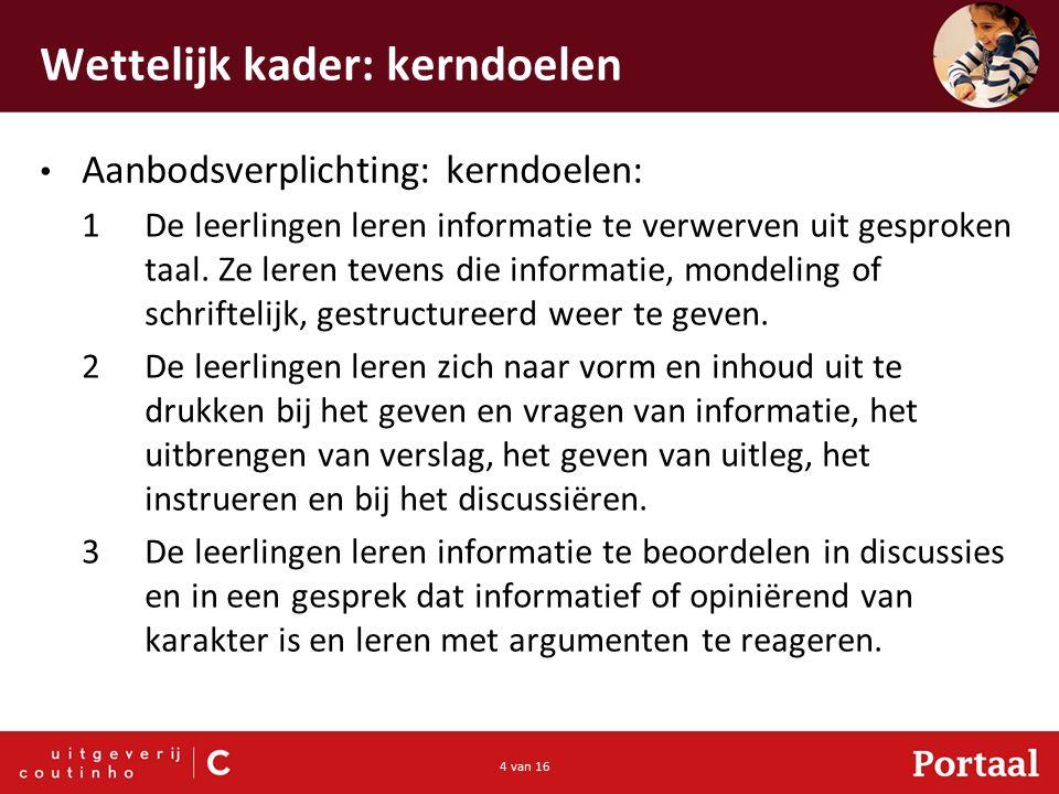 4 van 16 Wettelijk kader: kerndoelen Aanbodsverplichting: kerndoelen: 1De leerlingen leren informatie te verwerven uit gesproken taal.