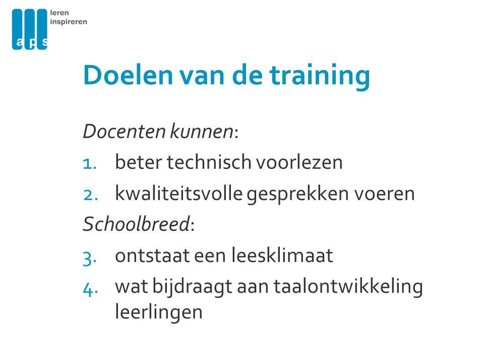 Doelen van de training Docenten kunnen: 1.beter technisch voorlezen 2.kwaliteitsvolle gesprekken voeren Schoolbreed: 3.ontstaat een leesklimaat 4.wat bijdraagt aan taalontwikkeling leerlingen