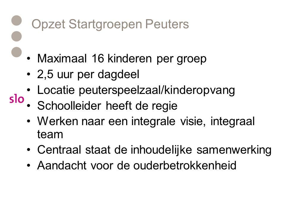 Opzet Startgroepen Peuters Maximaal 16 kinderen per groep 2,5 uur per dagdeel Locatie peuterspeelzaal/kinderopvang Schoolleider heeft de regie Werken