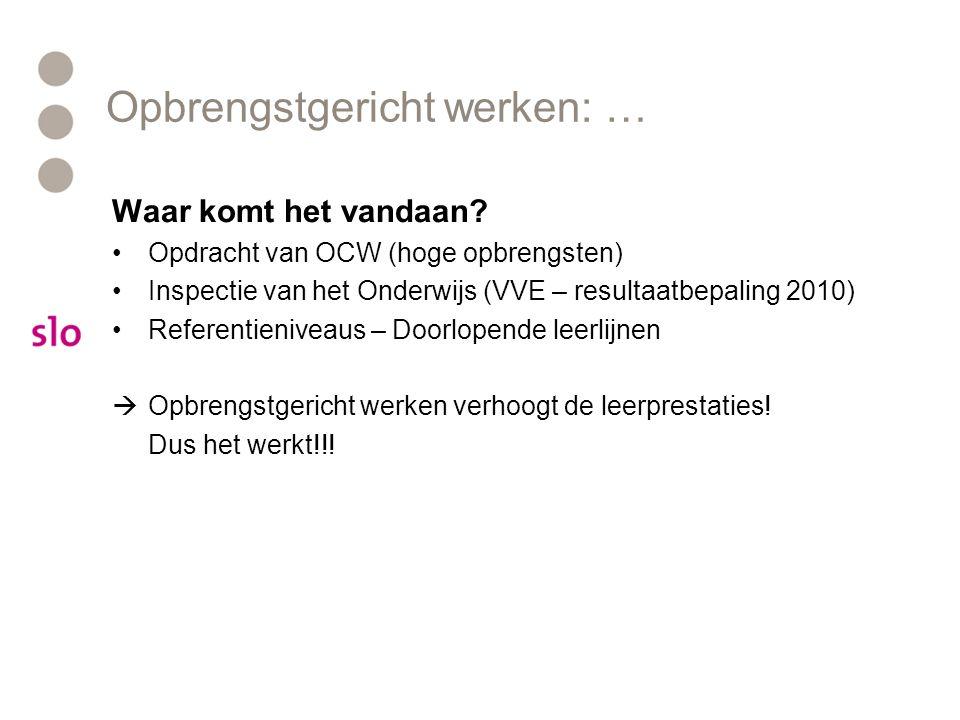 Opbrengstgericht werken: … Waar komt het vandaan? Opdracht van OCW (hoge opbrengsten) Inspectie van het Onderwijs (VVE – resultaatbepaling 2010) Refer