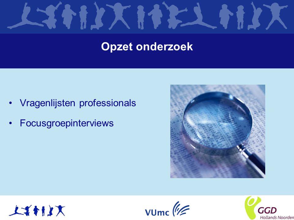 Opzet onderzoek Vragenlijsten professionals Focusgroepinterviews