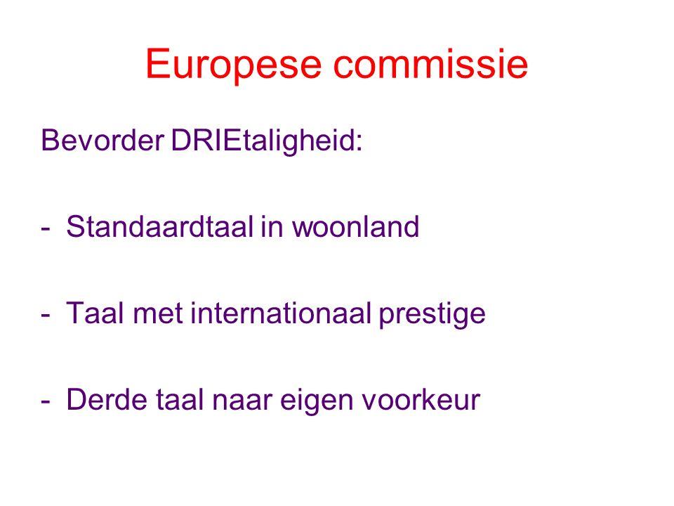 Europese commissie Bevorder DRIEtaligheid: -Standaardtaal in woonland -Taal met internationaal prestige -Derde taal naar eigen voorkeur