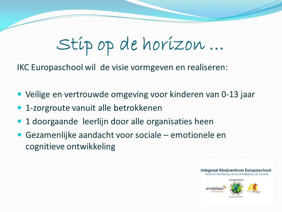 Stip op de horizon … IKC Europaschool wil de visie vormgeven en realiseren: Veilige en vertrouwde omgeving voor kinderen van 0-13 jaar 1-zorgroute van