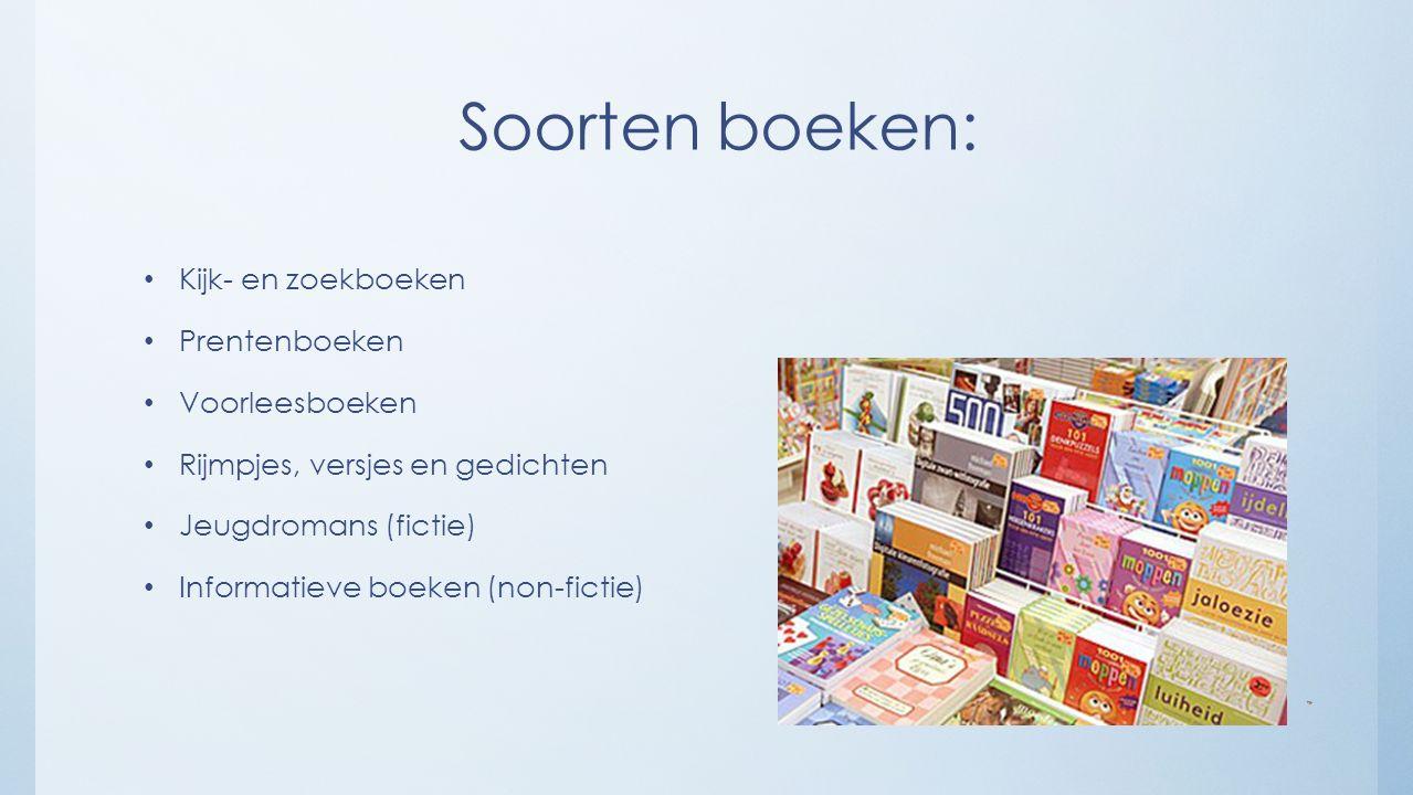 Soorten boeken: Kijk- en zoekboeken Prentenboeken Voorleesboeken Rijmpjes, versjes en gedichten Jeugdromans (fictie) Informatieve boeken (non-fictie)