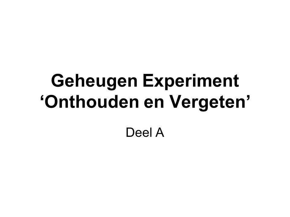 Geheugen Experiment 'Onthouden en Vergeten' Deel A