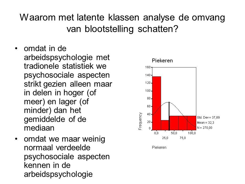 Waarom met latente klassen analyse de omvang van blootstelling schatten? omdat in de arbeidspsychologie met tradionele statistiek we psychosociale asp
