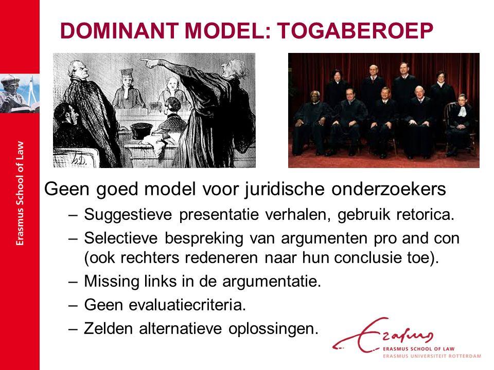 DOMINANT MODEL: TOGABEROEP Geen goed model voor juridische onderzoekers –Suggestieve presentatie verhalen, gebruik retorica.