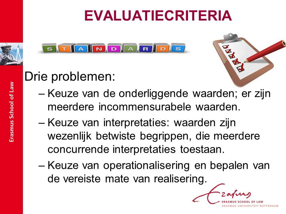EVALUATIECRITERIA Drie problemen: –Keuze van de onderliggende waarden; er zijn meerdere incommensurabele waarden.