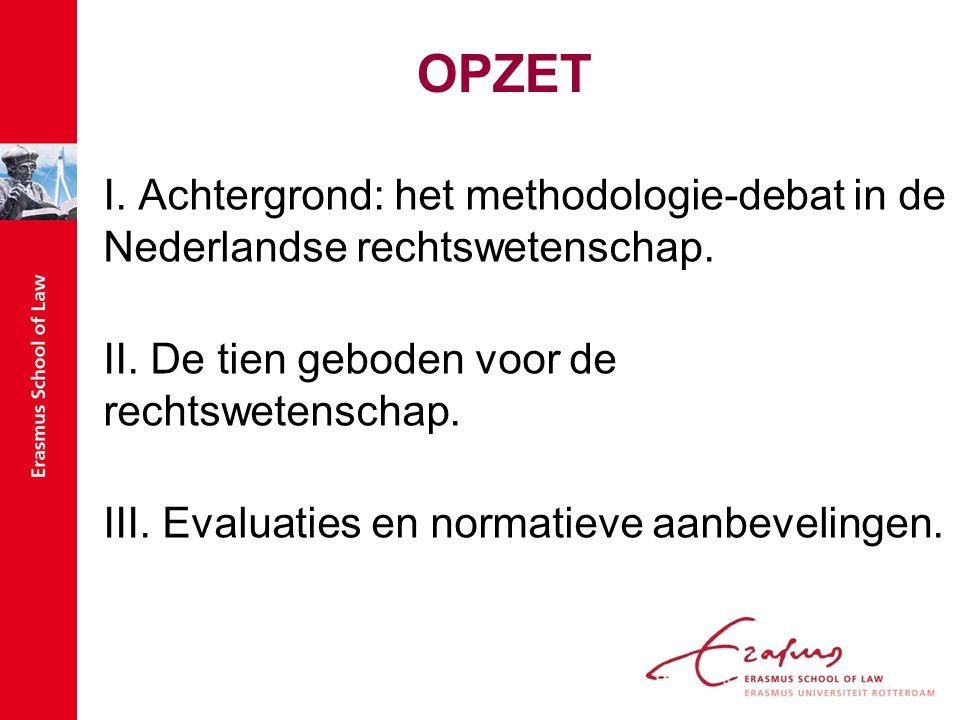 OPZET I. Achtergrond: het methodologie-debat in de Nederlandse rechtswetenschap.