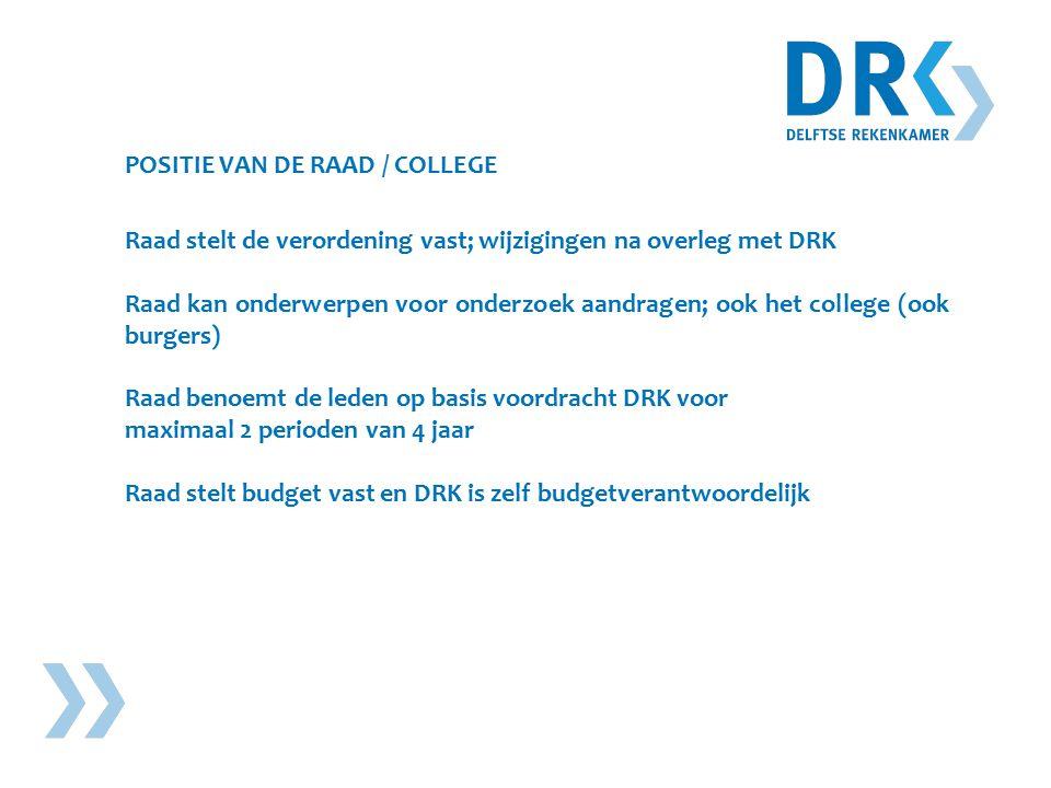 POSITIE VAN DE RAAD / COLLEGE Raad stelt de verordening vast; wijzigingen na overleg met DRK Raad kan onderwerpen voor onderzoek aandragen; ook het college (ook burgers) Raad benoemt de leden op basis voordracht DRK voor maximaal 2 perioden van 4 jaar Raad stelt budget vast en DRK is zelf budgetverantwoordelijk