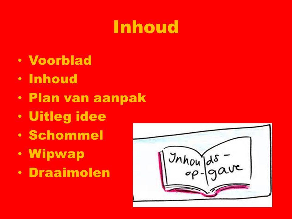 Inhoud Voorblad Inhoud Plan van aanpak Uitleg idee Schommel Wipwap Draaimolen