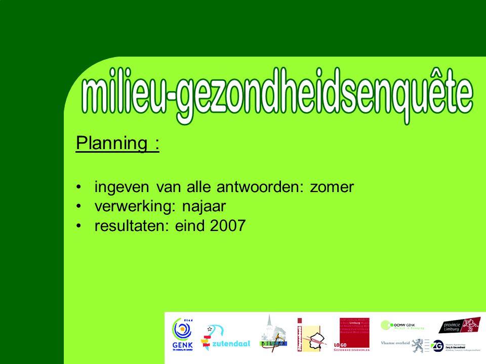 Planning : ingeven van alle antwoorden: zomer verwerking: najaar resultaten: eind 2007