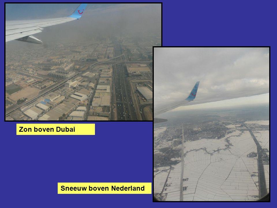 Zon boven Dubai Sneeuw boven Nederland