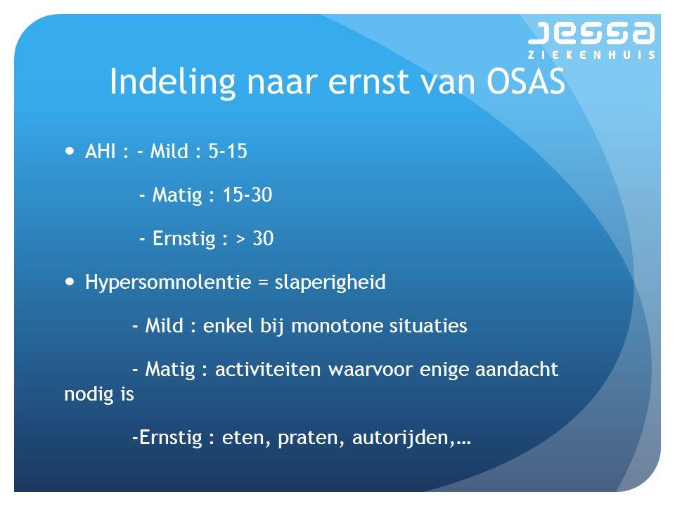Indeling naar ernst van OSAS AHI : - Mild : 5-15 - Matig : 15-30 - Ernstig : > 30 Hypersomnolentie = slaperigheid - Mild : enkel bij monotone situatie