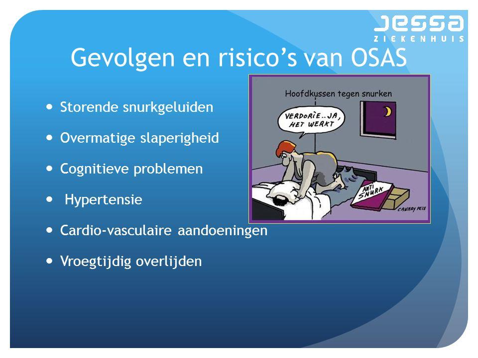 Gevolgen en risico's van OSAS Storende snurkgeluiden Overmatige slaperigheid Cognitieve problemen Hypertensie Cardio-vasculaire aandoeningen Vroegtijdig overlijden