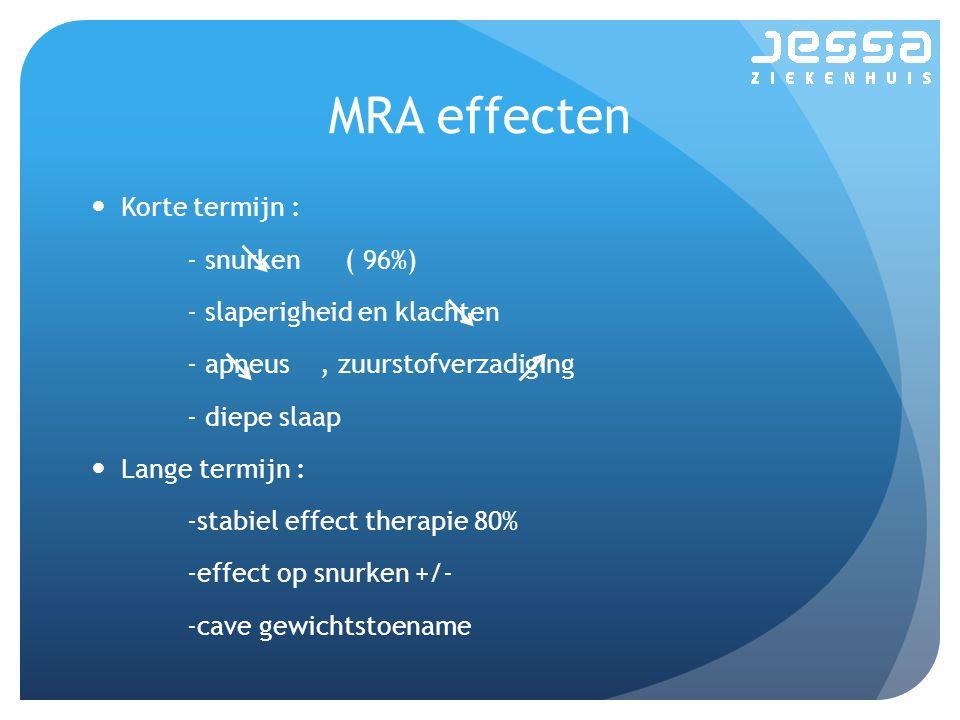 MRA effecten Korte termijn : - snurken ( 96%) - slaperigheid en klachten - apneus, zuurstofverzadiging - diepe slaap Lange termijn : -stabiel effect therapie 80% -effect op snurken +/- -cave gewichtstoename