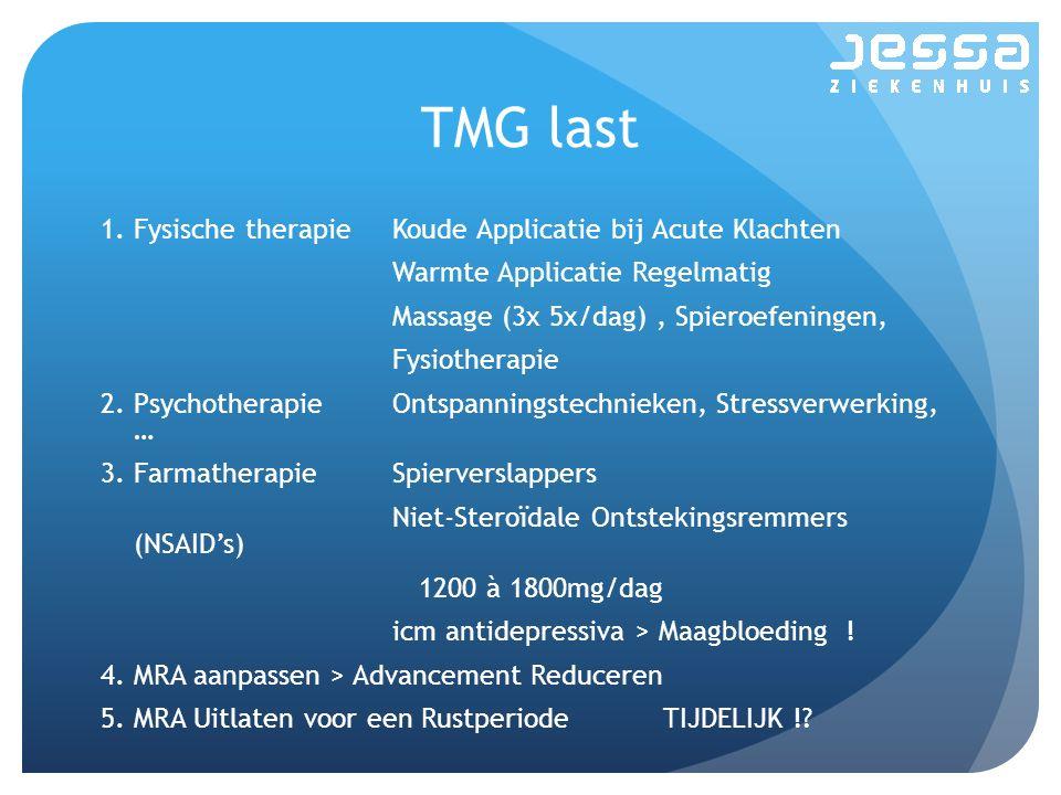 TMG last 1.Fysische therapieKoude Applicatie bij Acute Klachten Warmte Applicatie Regelmatig Massage (3x 5x/dag), Spieroefeningen, Fysiotherapie 2.Psychotherapie Ontspanningstechnieken, Stressverwerking, … 3.Farmatherapie Spierverslappers Niet-Steroïdale Ontstekingsremmers (NSAID's) 1200 à 1800mg/dag icm antidepressiva > Maagbloeding .