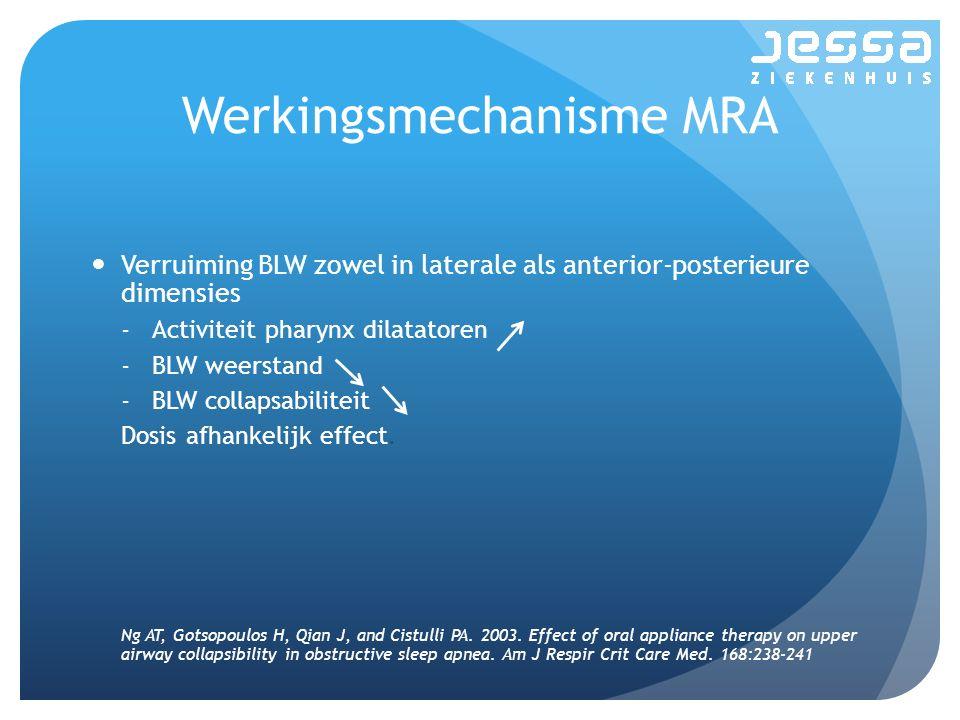 Werkingsmechanisme MRA Verruiming BLW zowel in laterale als anterior-posterieure dimensies -Activiteit pharynx dilatatoren -BLW weerstand -BLW collapsabiliteit Dosis afhankelijk effect.