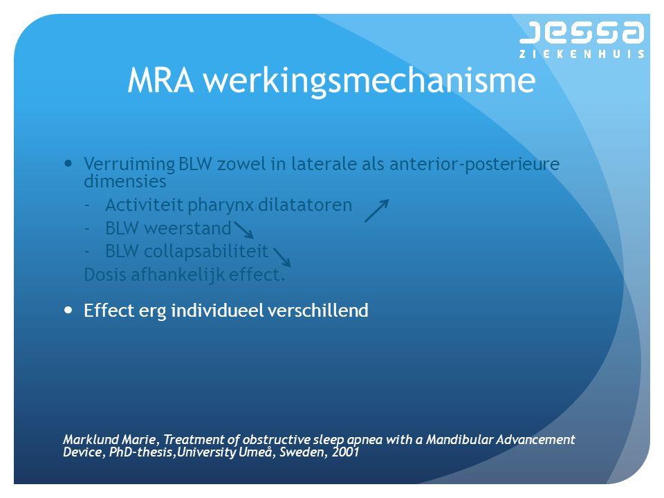 MRA werkingsmechanisme Verruiming BLW zowel in laterale als anterior-posterieure dimensies -Activiteit pharynx dilatatoren -BLW weerstand -BLW collapsabiliteit Dosis afhankelijk effect.