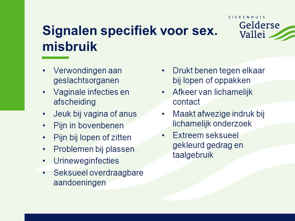 Signalen specifiek voor sex.