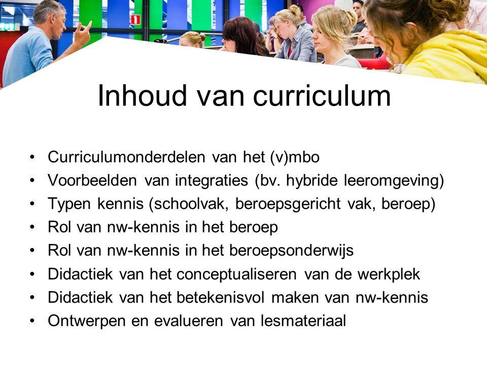 Inhoud van curriculum Curriculumonderdelen van het (v)mbo Voorbeelden van integraties (bv.