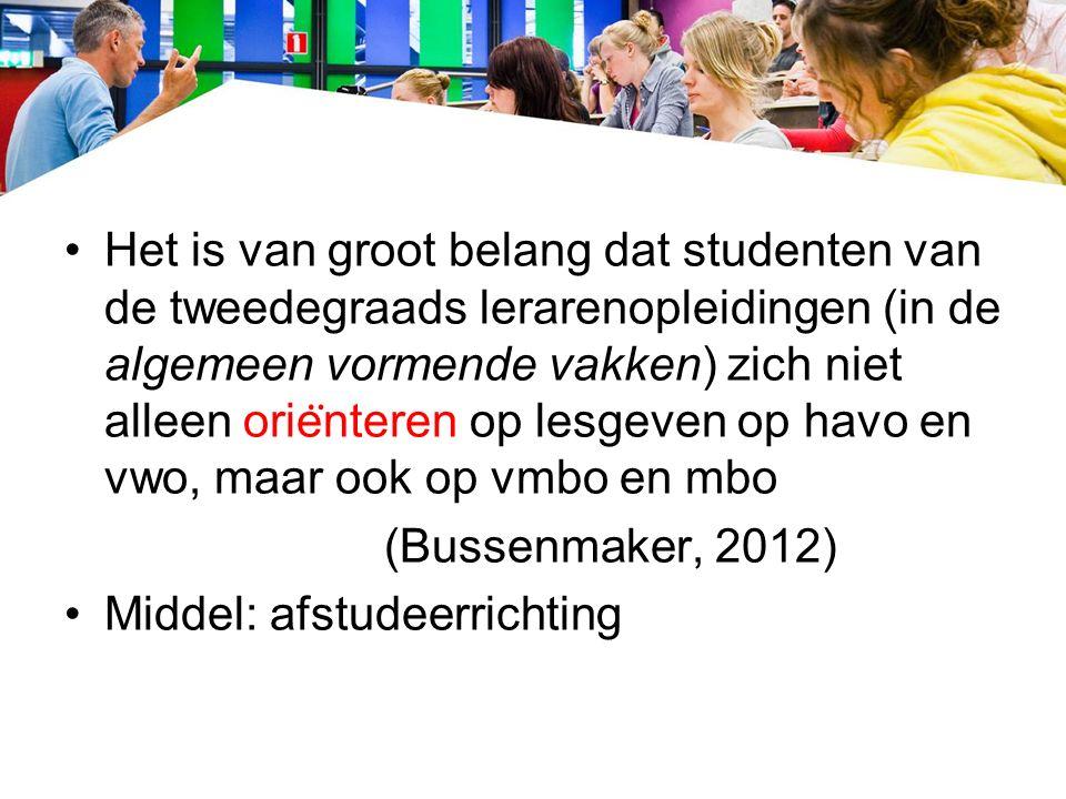 Het is van groot belang dat studenten van de tweedegraads lerarenopleidingen (in de algemeen vormende vakken) zich niet alleen orie ̈ nteren op lesgeven op havo en vwo, maar ook op vmbo en mbo (Bussenmaker, 2012) Middel: afstudeerrichting