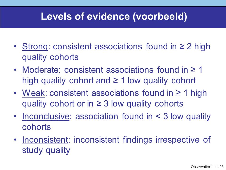 Levels of evidence (voorbeeld) Strong: consistent associations found in ≥ 2 high quality cohorts Moderate: consistent associations found in ≥ 1 high q