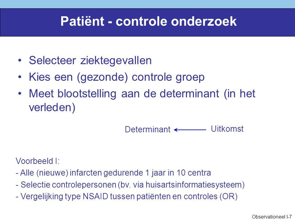 Voorbeelden van checklists Etiologie: –Horwitz & Feinstein.