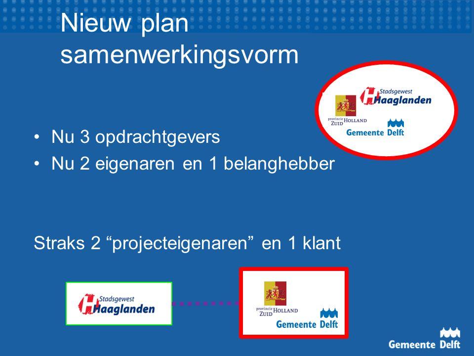 """Nieuw plan samenwerkingsvorm Nu 3 opdrachtgevers Nu 2 eigenaren en 1 belanghebber Straks 2 """"projecteigenaren"""" en 1 klant"""