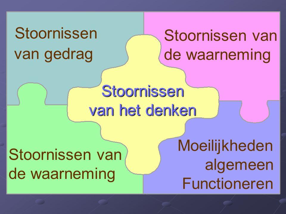 Stoornissen van het denken Stoornissen van de waarneming Stoornissen van gedrag Moeilijkheden algemeen Functioneren Stoornissen van de waarneming