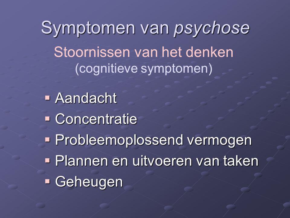 Symptomen van psychose  Aandacht  Concentratie  Probleemoplossend vermogen  Plannen en uitvoeren van taken  Geheugen Stoornissen van het denken (cognitieve symptomen)