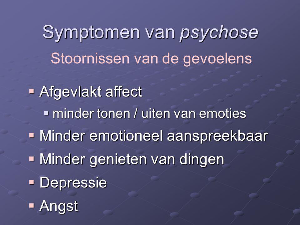 Symptomen van psychose  Afgevlakt affect  minder tonen / uiten van emoties  Minder emotioneel aanspreekbaar  Minder genieten van dingen  Depressie  Angst Stoornissen van de gevoelens